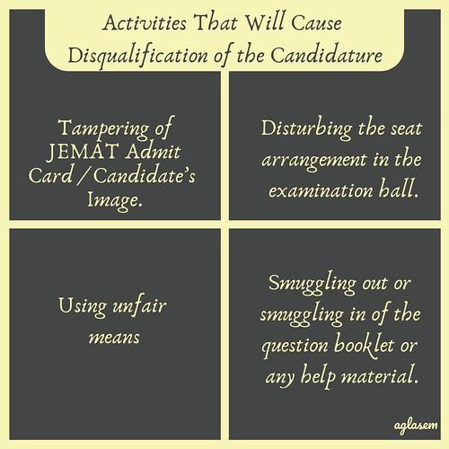 JEMAT Admit Card 2019 Don'ts