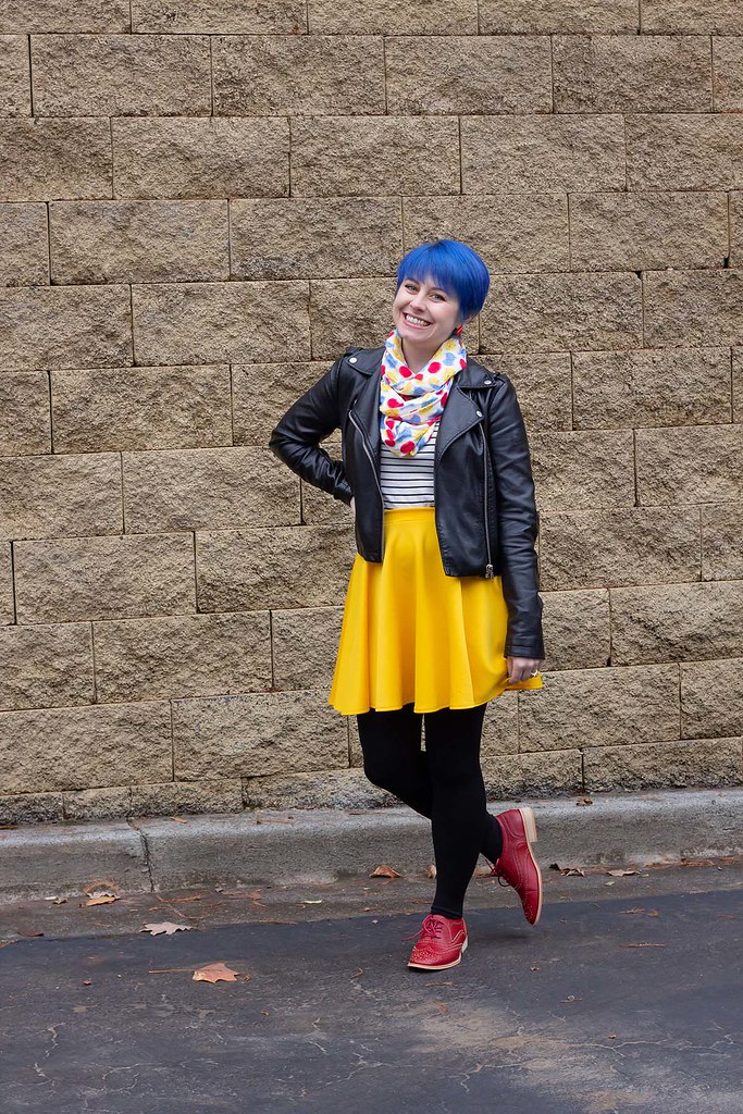 Bright Blue Pixie Cut with Primary Colored Outfit