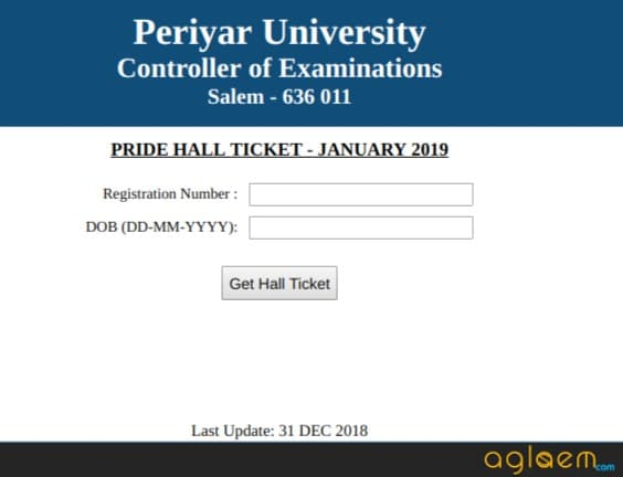 Periyar University PRIDE Exam Hall Ticket Released, Paper Starts From Jan 04