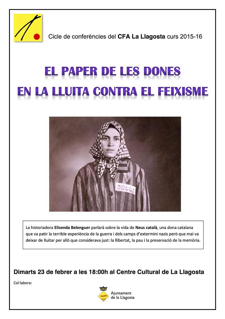 Cartell El paper de les dones en la lluita contra el feixisme (La Llagosta, 2015)