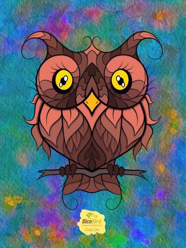Owl coloured digitally