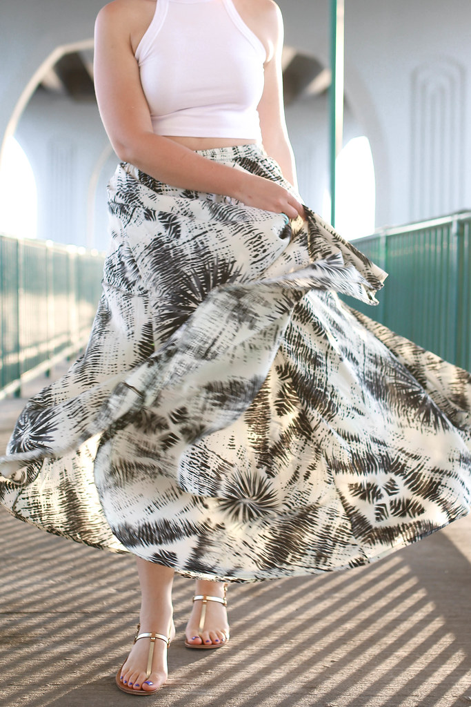 Golden Hour in Vero Beach Florida   Beach Vacation Outfit   White Crop Top Printed Maxi Skirt M.Gemi Sandals   Fashion Living After Midnite Style Blogger Jackie Giardina