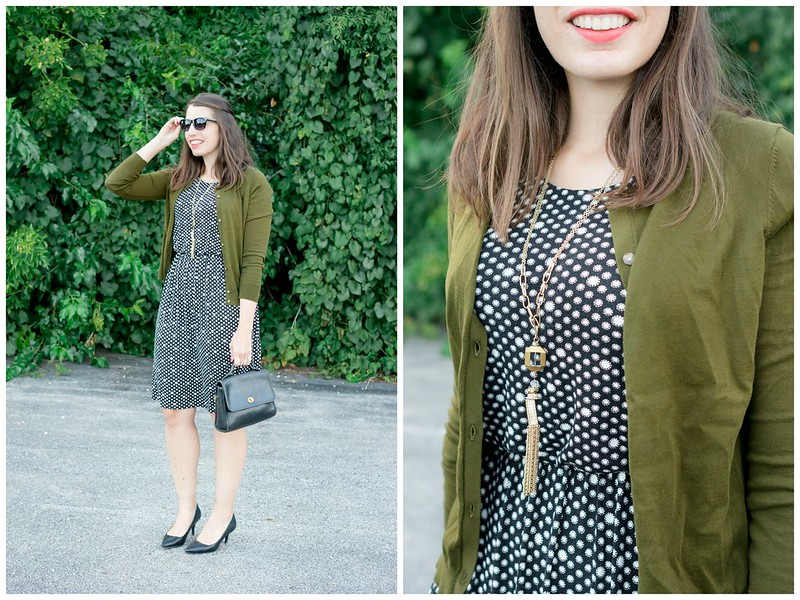 black and white polka dot Loft dress + green loft cardigan + black target heels; fall work outfit Style On Target blog