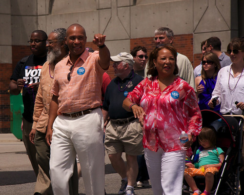 Governor Deval Patrick and Diane Patrick showing their Obama pride | by OFA_MA