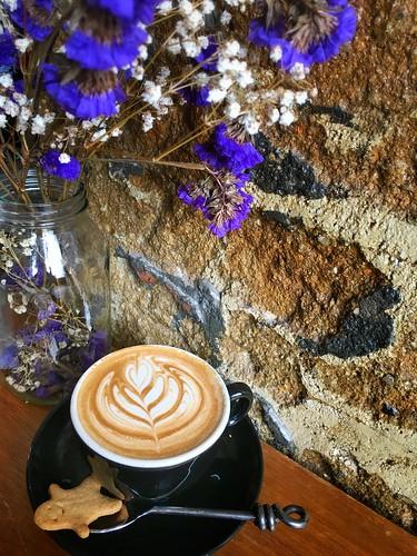 flat white coffee at Symmetry Cafe, 9 Jalan Kubor, Singapore