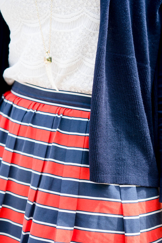 navy Loft cardigan + lace tank + red and white stripe J.Crew skirt + Merona wedges | Style On Target blog