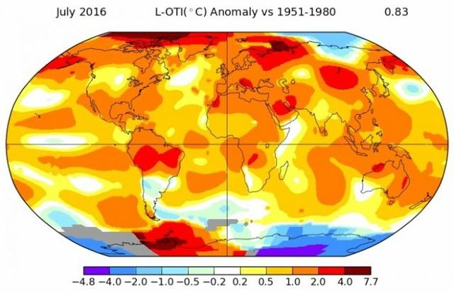 Julio 2016 el mes más cálido en la Tierra desde 1880