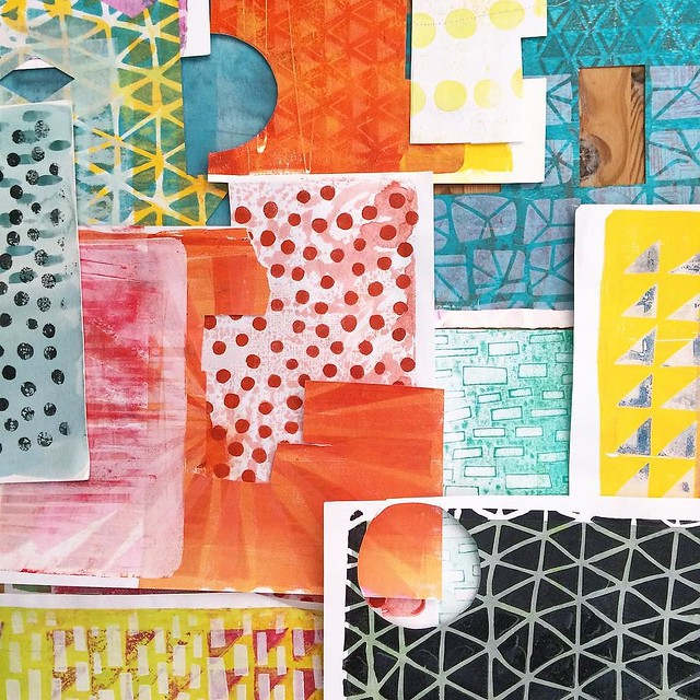 Just looking at some #robayrepaperpiles. Pattern prints made from my hand cut paper stencils and a Gelli arts plate