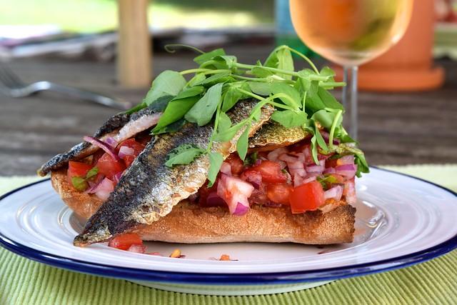 Sardine & Pea Shoot Bruschetta | www.rachelphipps.com @rachelphipps
