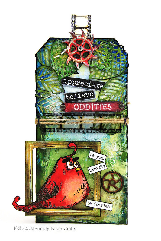 Meihsia Liu Simply Paper Crafts Mixed Media Tag Angry Bird Moive Inspiration Simon Says Stamp Monday Challenge Tim Holtz 1