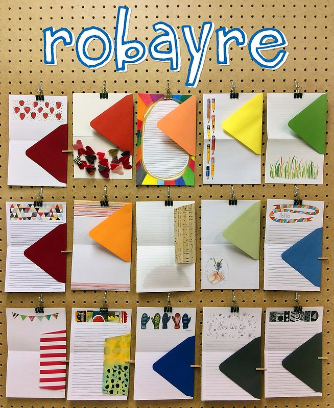 A sampling of the paper products that can be found in my shop. It was so fun to arrange, and hang them up like this.