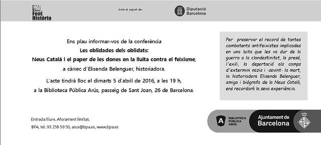 Folletó de l'acte Neus Català i el paper de les dones en la lluita contra el feixisme (Barcelona, 2016)