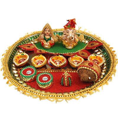 Diwali pooja thali decoration ideas tips and ideas about for Aarti thali decoration ideas for ganpati