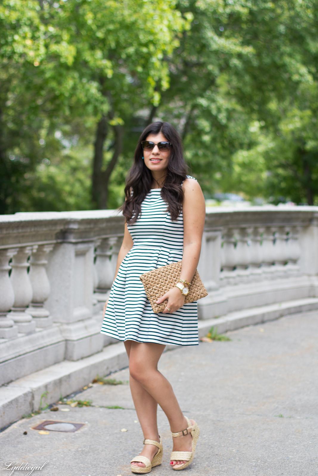 striped dress, espadrille sandals, straw clutch.jpg