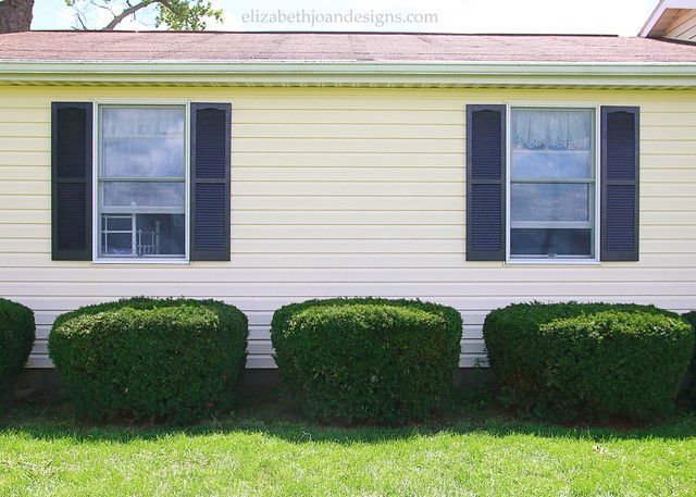 Black Shutters Yellow House Siding