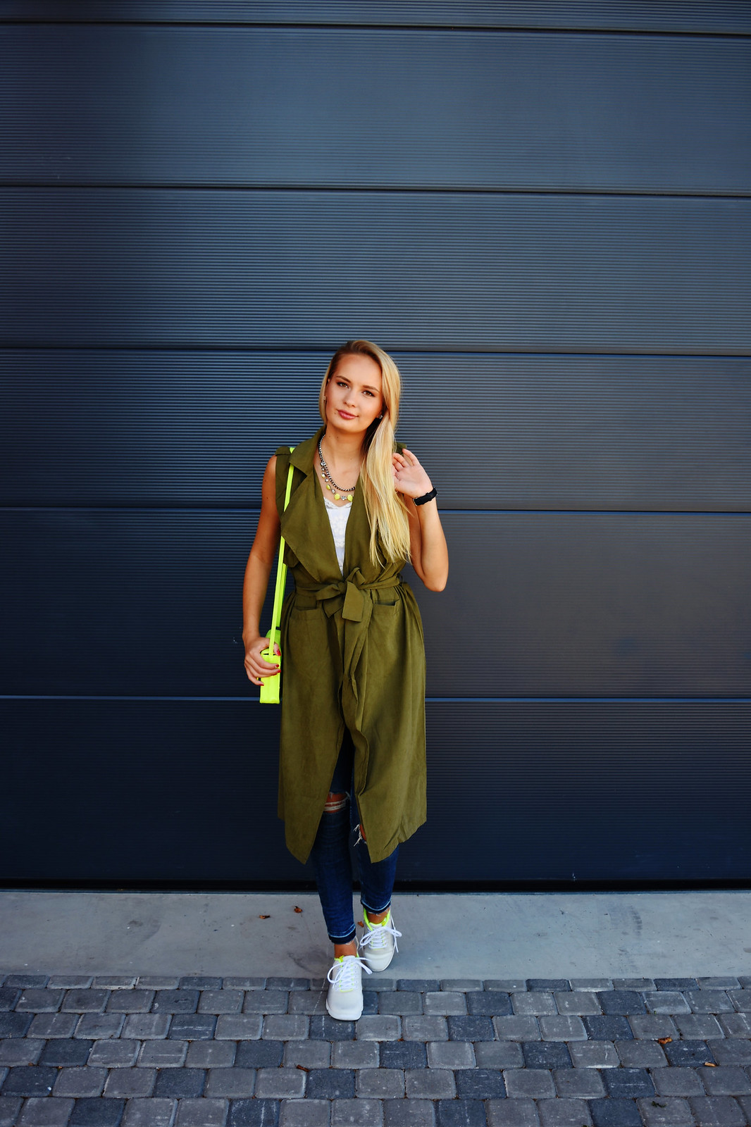 Army khaki green vest Rosegal