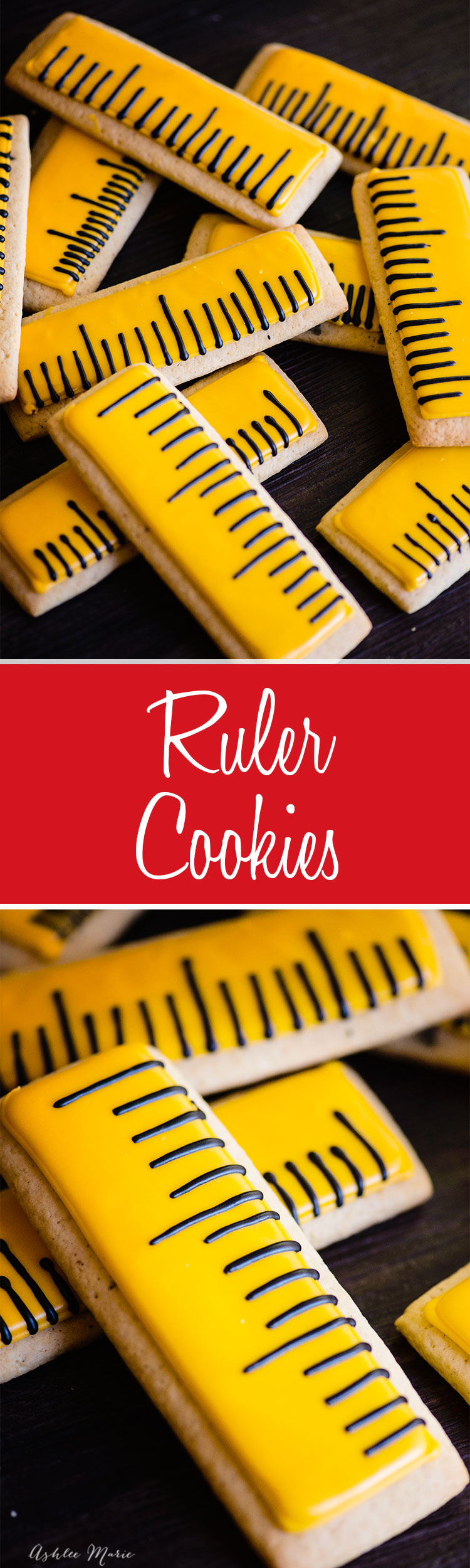 these ruler royal icing sugar cookies are so easy to make and are the perfect back to school treat