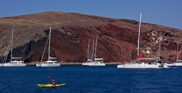 Rafting at Red Beach, Santorini