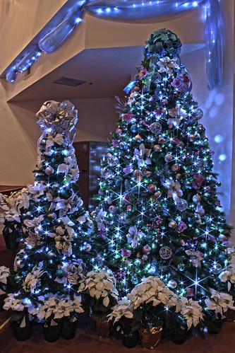 Silver Purple And Blue Themed Christmas Tree In Led Ligh