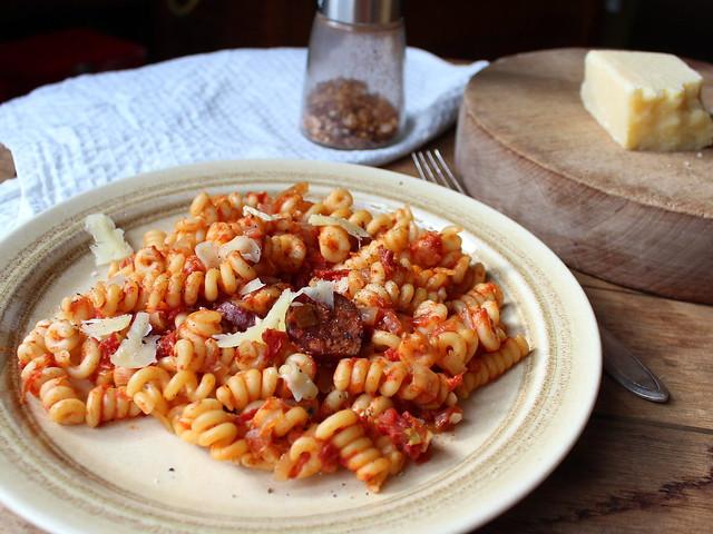Fusilli with Tomato & Chorizo Sauce