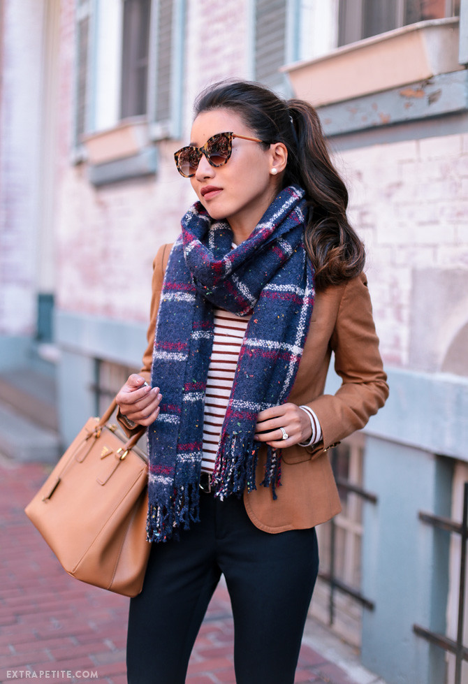 camel brown blazer plaid scarf fall work outfit idea