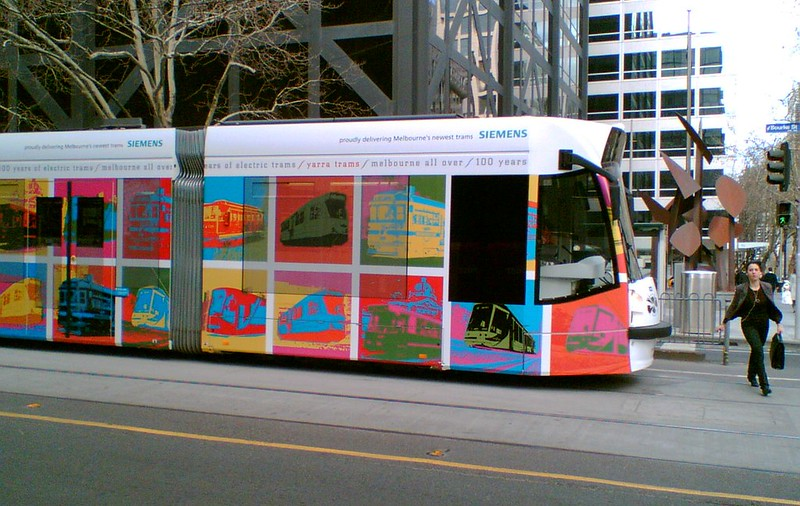 Siemens Warholesque tram design celebrating 100 years of Melbourne's electric trams (August 2006)