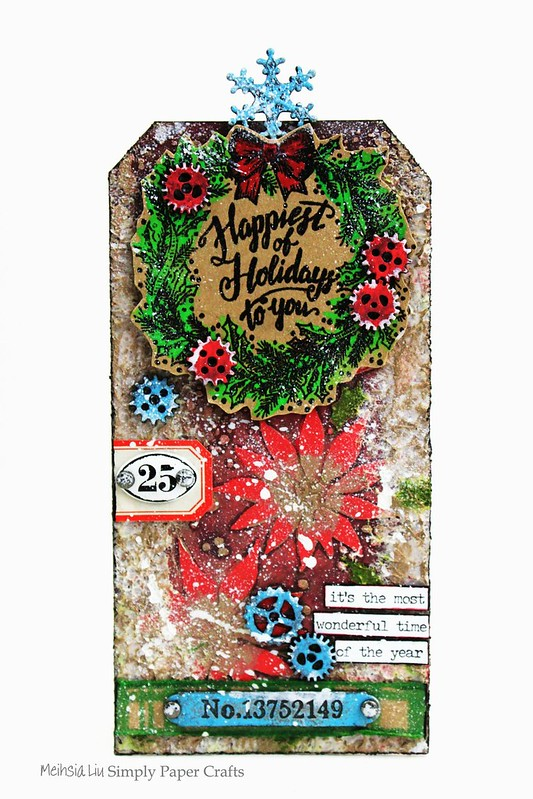 Meihsia Liu Simply paper Crafts Mixed Media Tag Christmas Simon Says Stamp Tim Holtz New Release 2