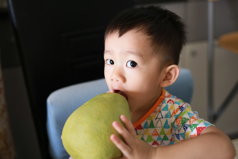 孩子,柚子不是這樣吃的。