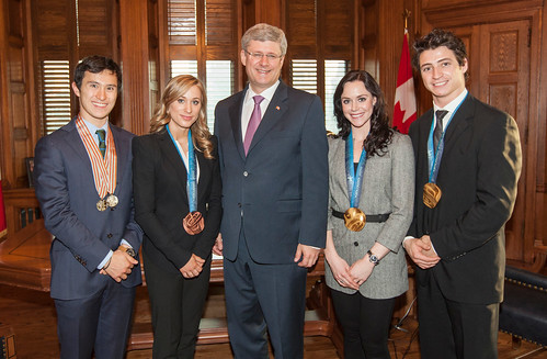 Patrick Chan, Joannie Rochette, PM Harper, Tessa Virtue, and Scott Muir