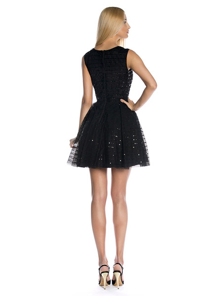 rochie RED Valentino din tulle cu paiete - spate