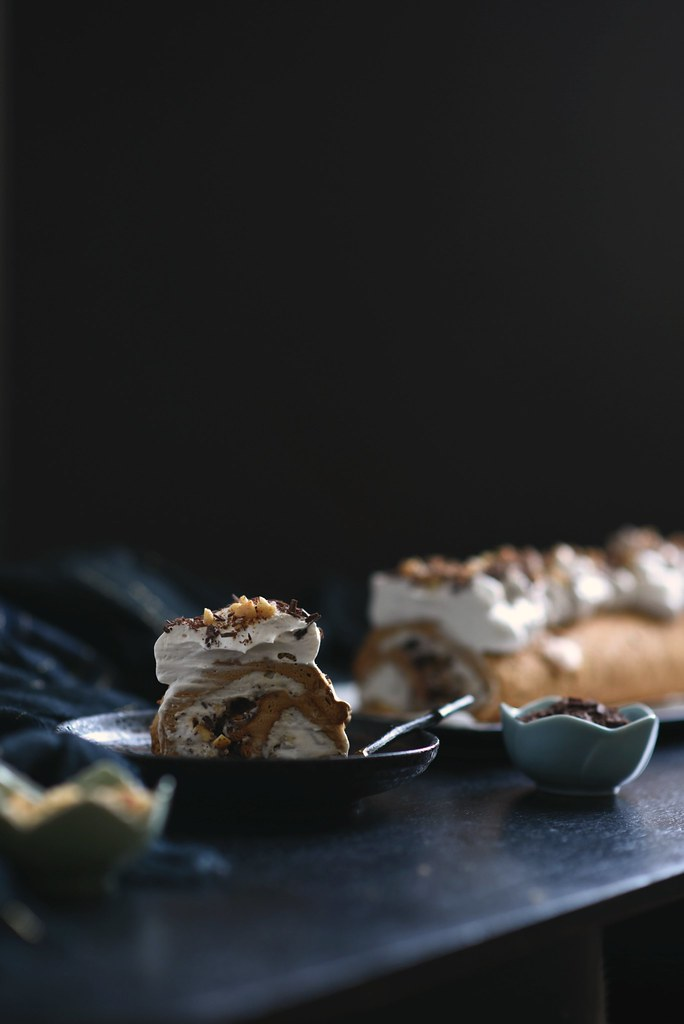Meringue Roulade + Chocolate Shavings + Salty Sweet Peanuts