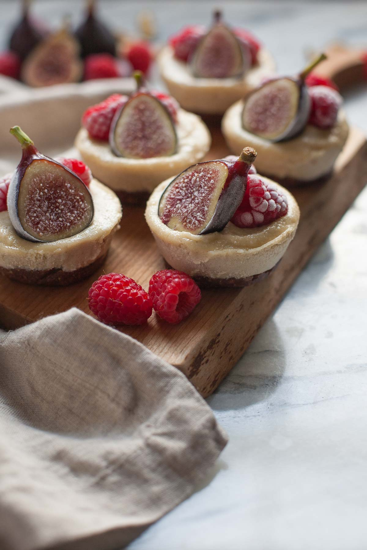 Vanilla Bean Cheesecakes with Figs and Raspberries