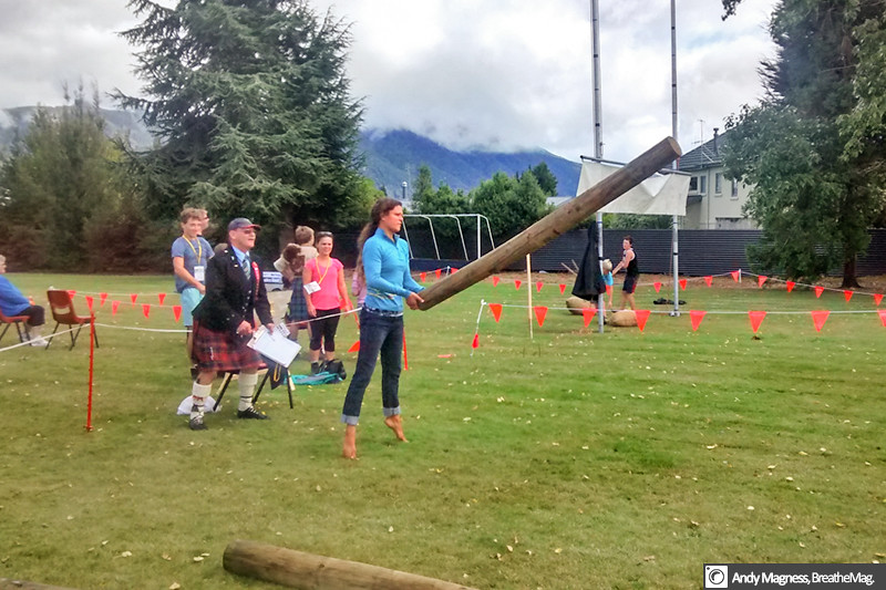 Toe extension is a critical element of caber tossing, as Tammy clearly demonstrates. Photo: Andy Magness.
