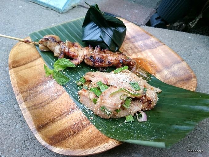 Gai Ping, Moo Namh Tok, Sticky Rice