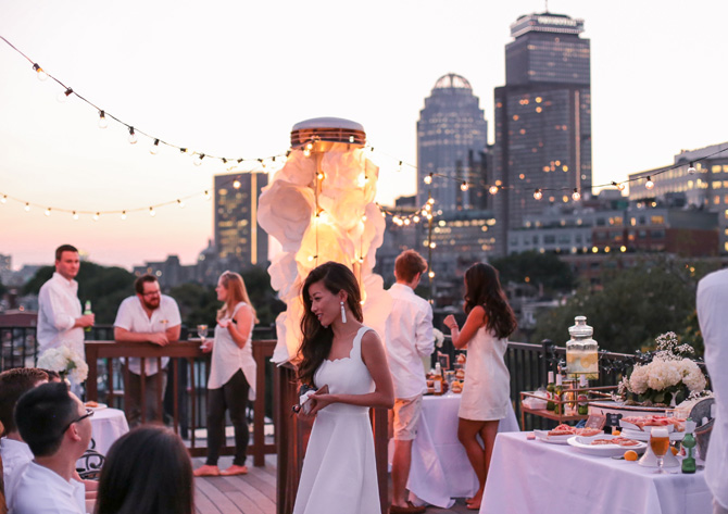 boston skyline summer rooftop party decor