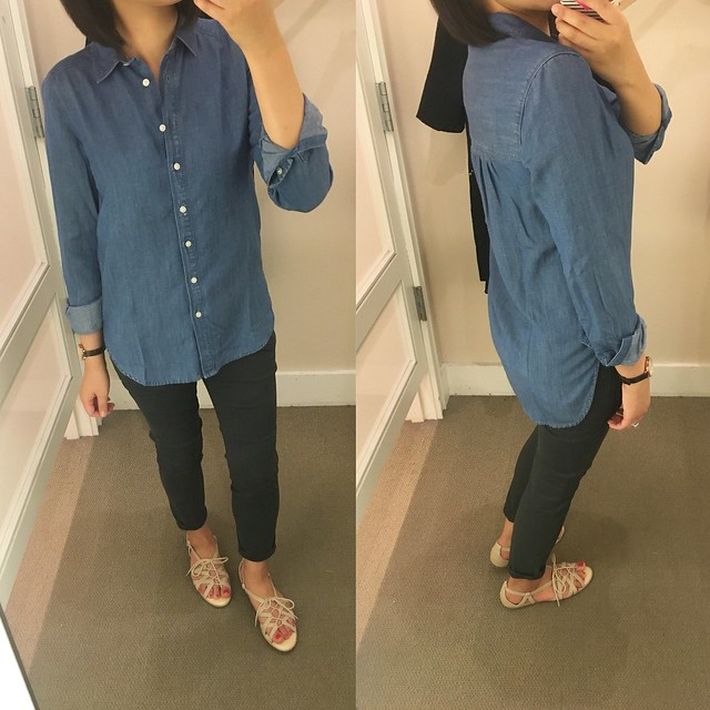 LOFT Shirred Chambray Softened Shirt, size XXSP