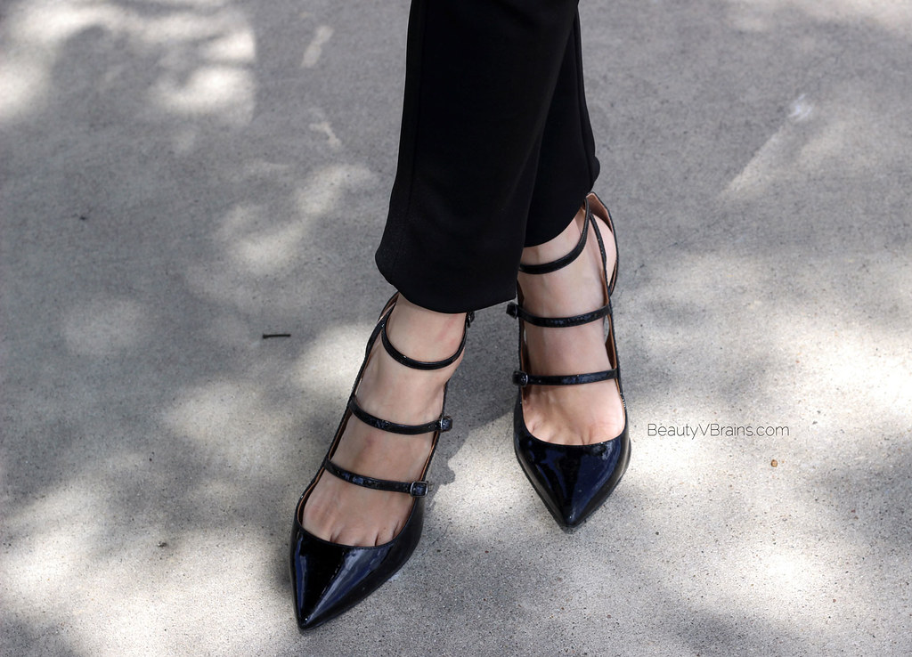 Black patent parallel strap heels
