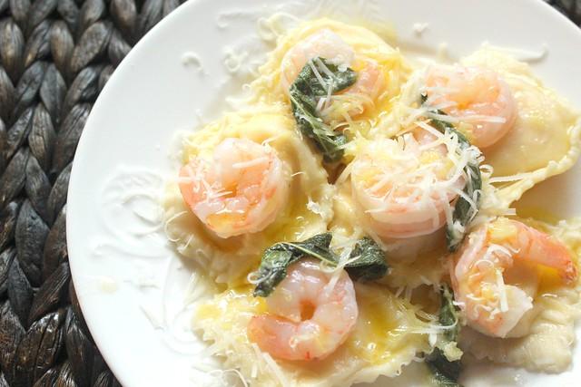 Butternut Squash Ravioli with Prawns and Fried Sage