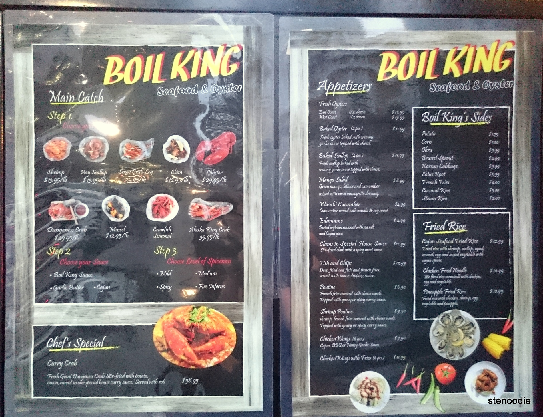 Boil King Full Menu and prices