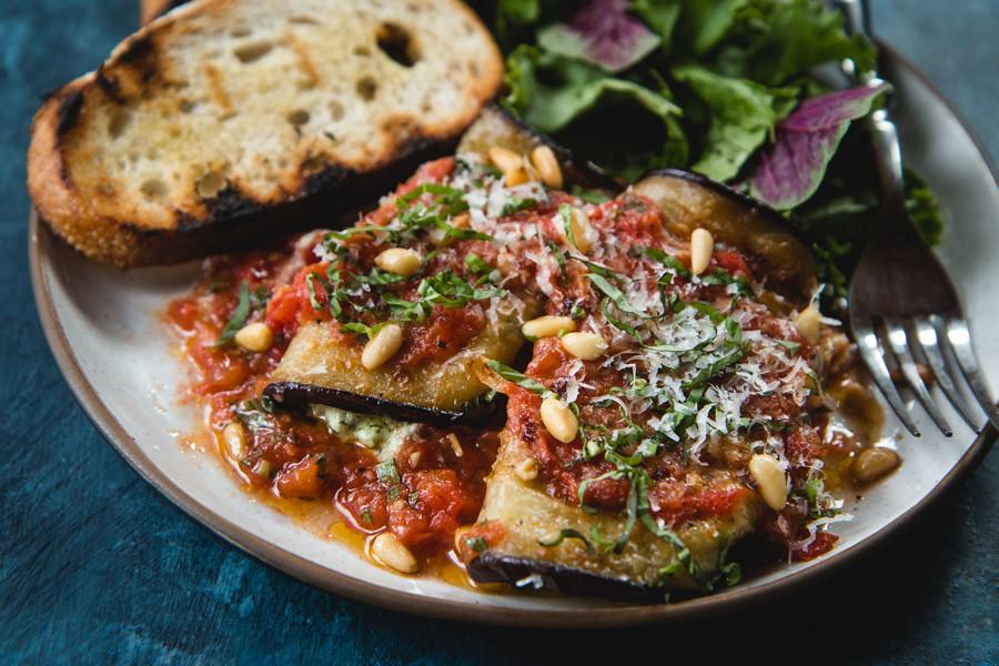 Eggplant Involtini with Ricotta and Pesto