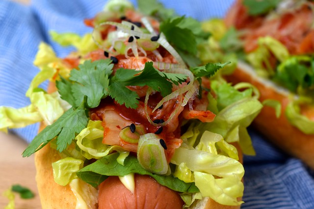 Kogi Barbecue Inspired Korean Loaded Hotdogs | www.rachelphipps.com @rachelphipps