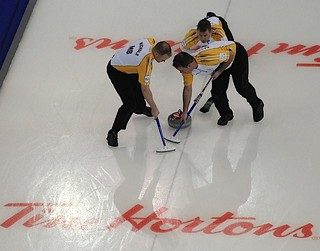 Edmonton Ab.Mar5,2013.Tim Hortons Brier.Manitoba skip Jeff Stoughton,lead Mark Nichols,second Reid Carruthers.CCA/michael burns photo | by seasonofchampions
