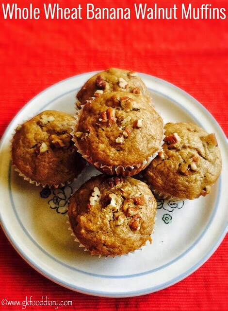 Whole Wheat Banana Walnut Muffins Recipe for Toddlers and Kids3