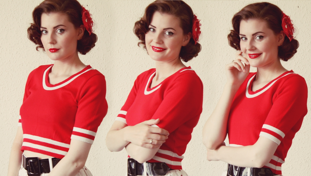 red 1950s vintage outfit via www.lovebirdsvintage.co.uk