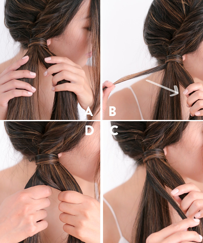 Side fishtail french braid tutorial step 4
