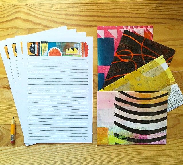 Who wants to send some fun mail? Day 93/100 I added this #stationeryset to my shop. It includes the collage header letter /writing paper and envelopes made from one of a kind gelatin prints (using my handcut stencils) The inside of the envelopes are print