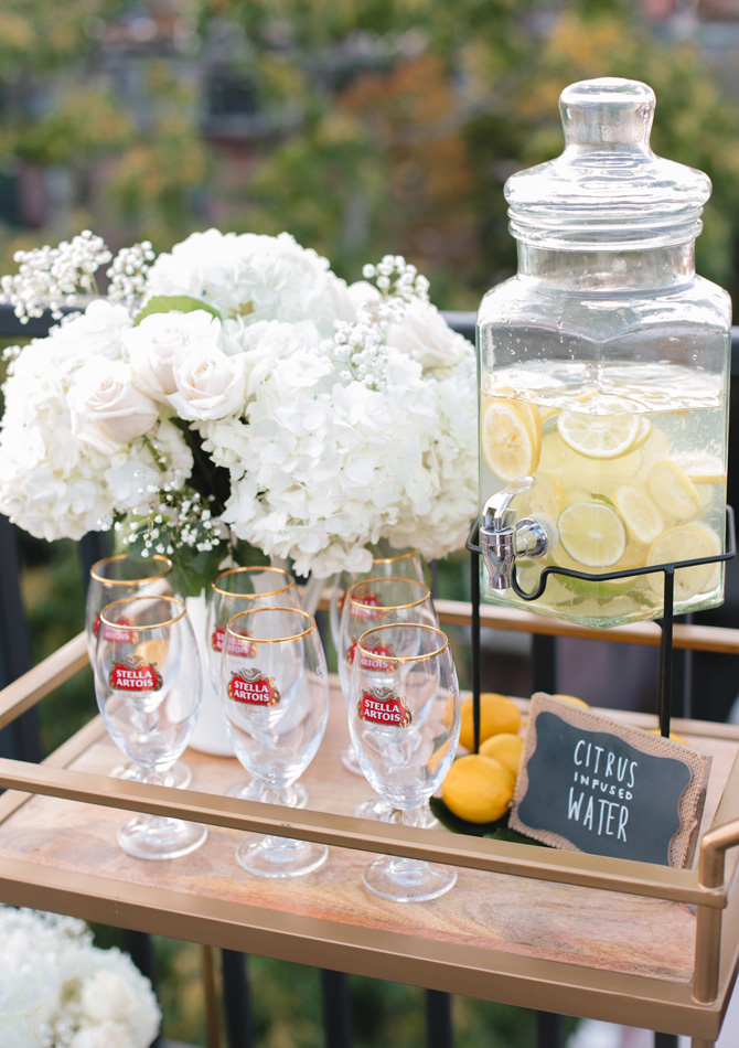 summer garden party infused water bar cart