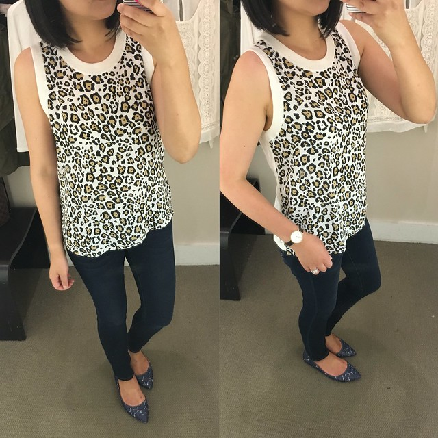 LOFT Spotted Sweater Tank, size XS regular