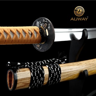 auway-samurai-sword-Rose-Tsuba-Wood-color-scabbard-5