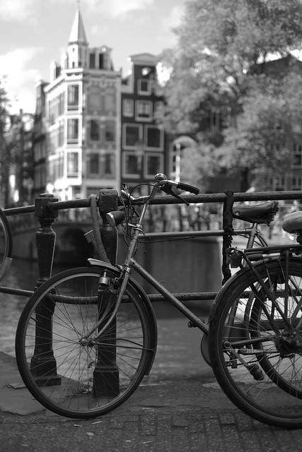 Bike at canal in Amsterdam 49
